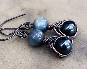 Kyanite and Hematite Dangle Earrings