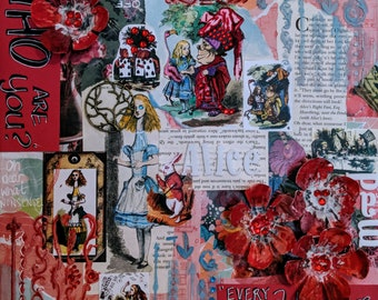 Mixed media art about Alice in Wonderland - Oh dear, what nonsense!