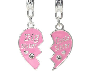 Big Sister, Little Sister Charms, Silver Plated with Rhinstones (1L-207)