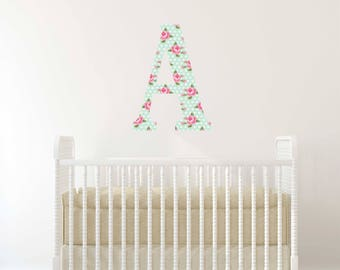 Custom Monogram Fabric Wall Decal  / Removable  and Reusable Personalized Fabric Wall Decal  /  Peel and Stick Temporary Wallpaper