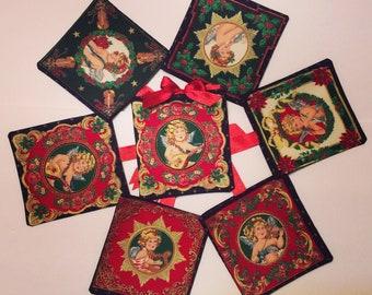 Christmas Angels, Christmas Fabric Gift Bag, Gift Card Holder, Zero Waste Gift Bags, Cloth Bag, Christmas Fabric Gift Bag, 6.5x6.5