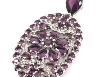 Sterling Silver Purple Amethyst & AAA CZ Accent Pendant