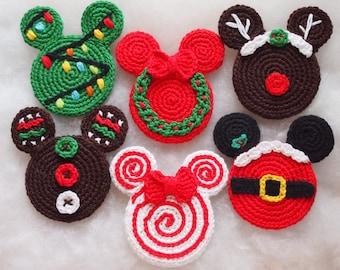 Mickey&Minnie Mouse Christmas crochet pattern, Christmas Ornament, Christmas wreath, xmas tree, Gingerbread, Santa Claus, lollipop, Rudolph