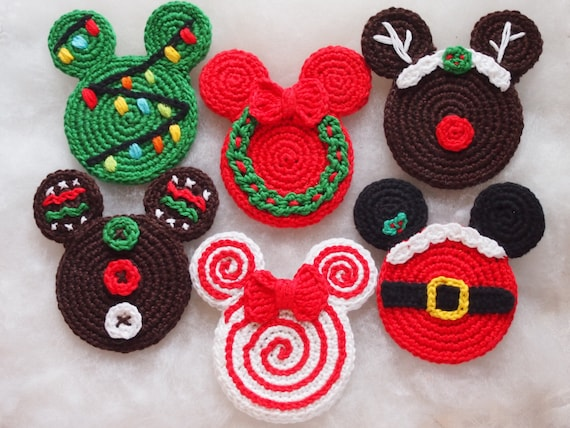 Mickey&Minnie Mouse Christmas crochet pattern, Christmas Ornament ...