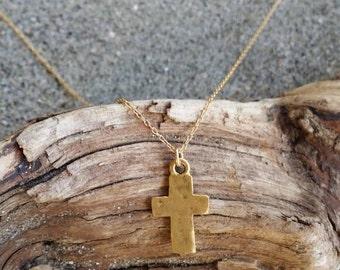 Cross Necklace, Rustic Cross, Gold Cross, Pendant, Chunky Cross