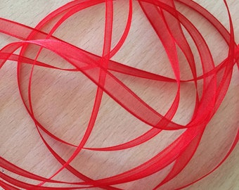Red chiffon Ribbon 324 elegant and translucent