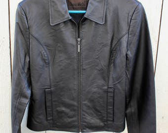 Vintage Womens Ladies Black Leather Jacket DONA MICHI Zip Front 2 Pockets Fully Lined Sz M c1980s