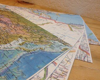 Set of 5 Huge Map Upcycled Paper Envelopes