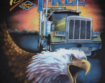 1988 DEADSTOCK 3D Emblem TRUCKERS ONLY Paper Thin Soft Shirt New and Unworn