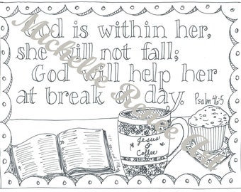 Bible Verse Coloring Page: Psalm 46.5 Digital Instant Download