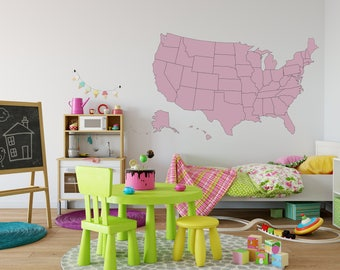 US Map Wall Decal on Vinyl - USA Map Decal - United States Decal