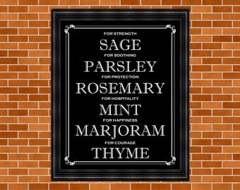 Herbs Print, Printable Kitchen Art, Home Décor, Typography, Printable Kitchen Décor, Mom Gift, Parsley, Sage, Rosemary, Thyme, Herb Art