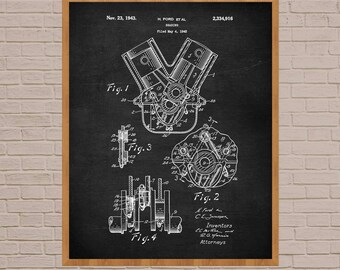 Ford Engine Patent, car lover gift, mechanic gift, car lover, engine bearing, ford patent, ford engine art, engineer gifts, car guy gift