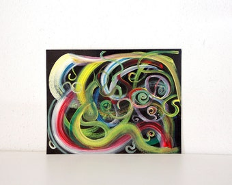 Abstract rainbow painting on black background