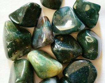 Tumbled GREEN MOSS AGATE Gemstone - Healing Crystals - Metaphysical - Spirituality - Minerals - Crystal Therapy