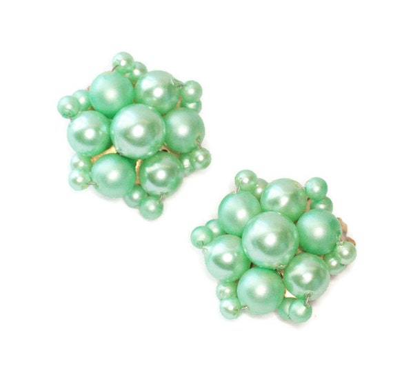 Mint Green Cluster Earrings Hong Kong Pearlescent Wired Beads Clip On Style Vintage