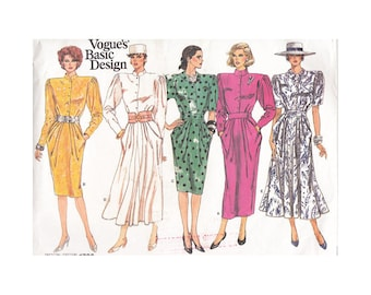 1980s Straight or Flared Dress Uncut Vintage Vogue Sewing Pattern 1796 Size 10 Bust 32.5 Stand Up Collar Fitted Waist Draped/Peg Style Skirt