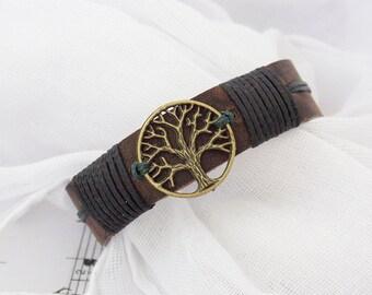 Men's Leather Bracelet, 3rd Anniversary Bracelet, Tree Of Life Bracelet, Celtic Leather Bracelet, Leather Cuff Bracelet, Nordic Leather Cuff