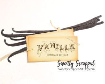 VANILLA EXTRACT labels. Vanilla Tags, DIY Packaging, Favor Tags, Party Tags, Extract Labels, Food Labels, Party Favor Goodie Goody Bag Tags