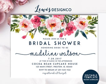 Wedding invitations etsy no floral bridal shower invitation instant download file pdf diy bride wedding invite card stopboris Choice Image