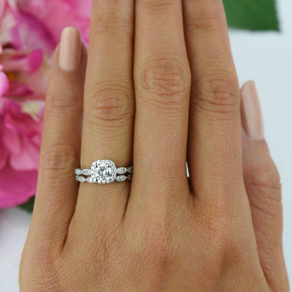 34 ctw Halo Wedding Set Delicate Bridal Rings Man Made
