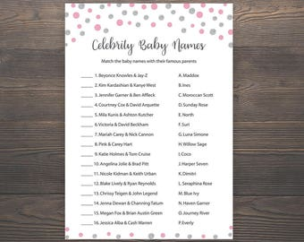 Pink Silver, Baby shower games, Celebrity baby name game, Girl baby shower, Printable pink baby shower game, Celebrity baby names, S011