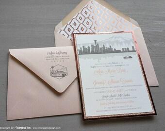 Seattle City Skyline Mountains Wedding Invitation Sample | Kraft Paper | Flat or Pocket Fold Style