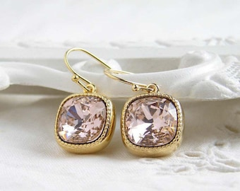 Swarovski Earrings ~ Vintage Rose ~ Gift for Her ~ Cushion Cut ~ Light Rose Earrings ~ Light Salmon Pink ~ Simple Modern