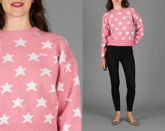 80s Pink Star Sweater