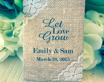 Wedding Seed Packets, Wedding Favors, Rustic Wedding Favors, Personalized Wedding Favors, seed packet Favors, let love grow, Burlap and Lace