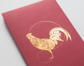 2 gold-foiled Chinese red envelopes - Rooster