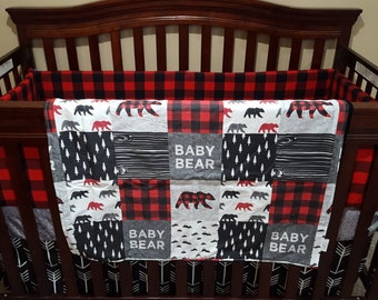 Woodland Baby Bear Patchwork Fabric Baby Blanket or Quilted Comforter- Baby Bear, Lodge, Red Black Buffalo Check, Mountain, Woodland, Mint