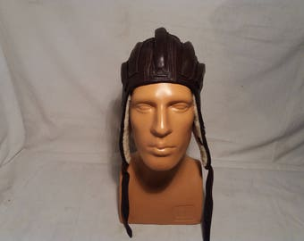 Vintage 1970's Military Dark Brown Leather Helmet - Winter Version - NEW