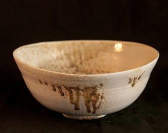 Big Bowl Translucent Woodfired Porcelain  Bowl zen fruit bowl Handmade Studiopottery ash deposits sodaglaze