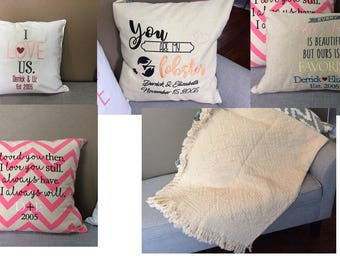 Two Year Anniversary 100% Cotton Afghan Throw Blanket Wedding Gift Anniversary Gift - 6 Different Sayings to Choose From