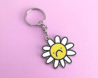 Flower Frown, hard enamel keychain