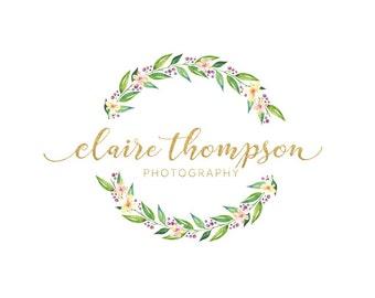 Wreath flower logo premade logo design gold logo photography logo