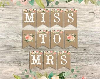 miss to mrs banner, floral bridal shower banner, bridal shower floral banner peach blush watercolor floral banner printable instant download