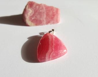 Pendant of the gemstone Rhodochrosite hand-cut