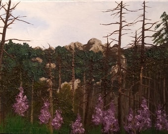 Oil painting on canvas. Flowers in the mountains.