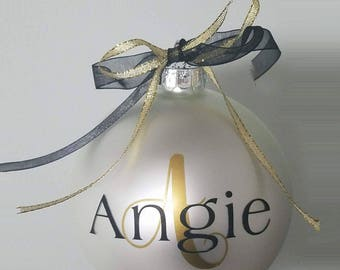 """Personalized Christmas Ornament - 4"""" Glass Ball"""