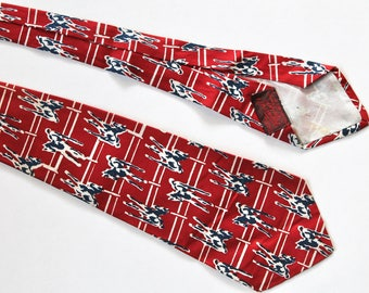 Vintage 1940's Mens Wide Silk Horse Print Red, Navy, and White Necktie!