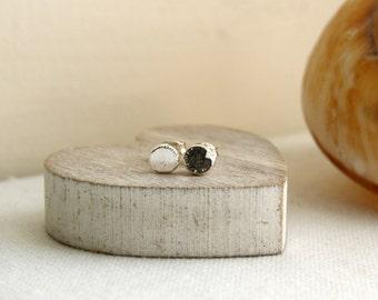 Silver Pebble Stud Earrings, Sterling Silver Earrings