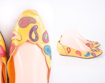 Yellow Leather Ballet Flats, 80s Shoes, 80s Flats Flat Shoes Peep Toe Flats Wedge Heel Yellow Shoes Paisley Print Yellow Flats Leather Shoes