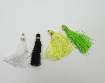 small tassels in yellow, green, black and white - overstock - clearance -sale