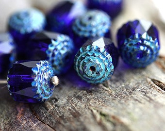 10mm Rustic Dark Blue Cathedral rounds, czech glass picasso ends, fire polished - 10Pc - 2999