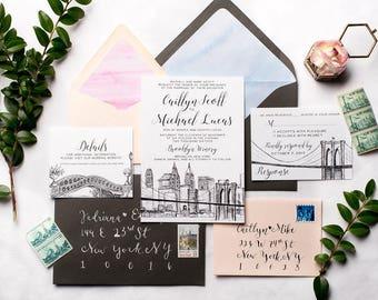 NYC Skyline Wedding Invitation Suite | Brooklyn Bridge, Central Park New York City Wedding Invite