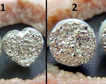 Silver Druzy Stud Earrings// Natural Druzy Stud//Earpost //Natural Gem Stone //Designer//Fashion Jewelry//Sale