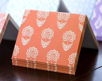 Red Indian Flower Letterpress Card Set
