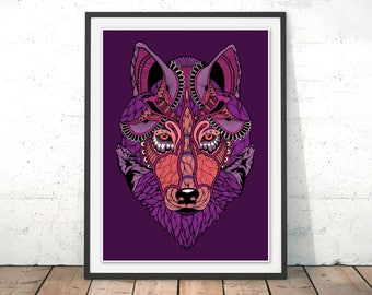 Mystical Wolf Print Purple Wolf Art Print Wolf Art Wolf Poster Wolf Illustration Wolf Painting Purple Home Decor Purple Room Wolves by Paul